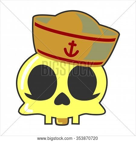 Sailor Skull Glyph Icon Vector On White Background. Flat Vector Sailor Skull Icon Symbol Sign From M