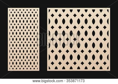 Laser Cut Panel. Vector Stencil With Abstract Geometric Pattern, Grid Ornament, Mesh, Net, Lattice I