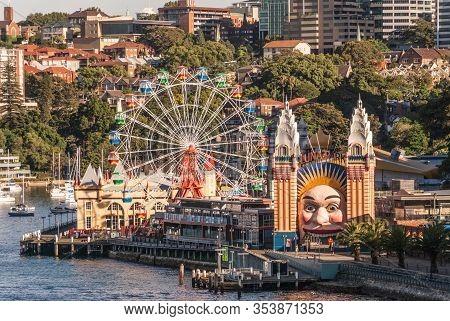 Sydney, Australia - December 11, 2009: Closeup Of Colorful Luna Park Fair Attractions With Kirribill