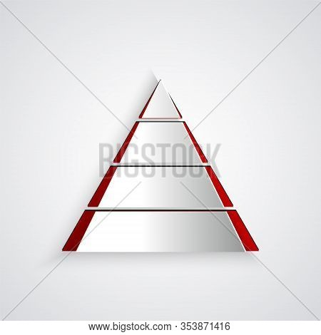 Paper Cut Business Pyramid Chart Infographics Icon Isolated On Grey Background. Pyramidal Stages Gra