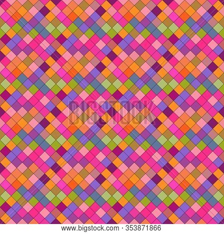 Seamless Multicolor Geometrical Diagonal Square Pattern Background - Multicolored Abstract Vector De