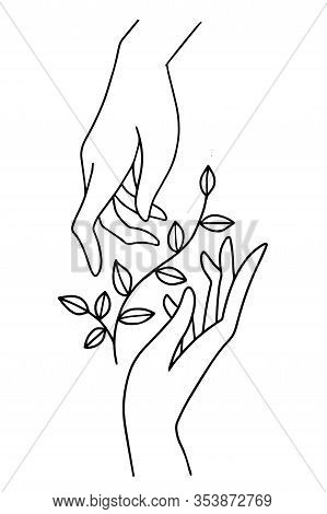 Two Hands Holding, Floral Plant With Leaves. Boho Illustration In Simple Flat Line Style Isolated On