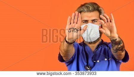 Healthcare And Immunity. Stop Coronavirus. Dont Enter Quarantine Area. Stop Virus Extension. Doctor