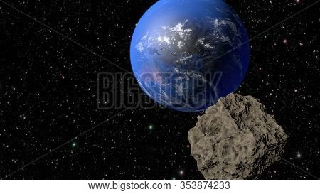 An Asteroid Flies To The Earth. 3d Rendering
