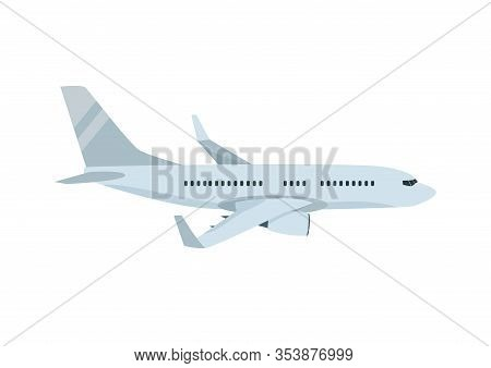 Vector Cartoon Illustration Of Flying Passenger Airplane Isolated On White Background. Commercial Ai