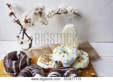 Donut, Polish Donut, Classic Donut, Old-fashioned Donut, One Donut With Icing Sugar On A White Backg