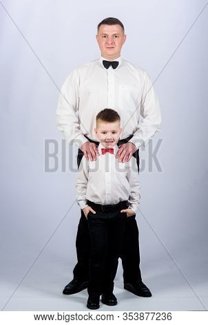 Father And Son Formal Clothes Outfit. Formal Event. Grow Up Gentleman. Gentleman Upbringing. Little