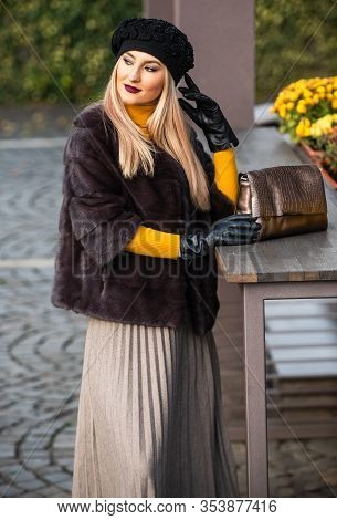 Matching Different Textures Outfit. Fashion And Beauty. Autumn Outfit. Elegant Woman Wear Fur Coat.