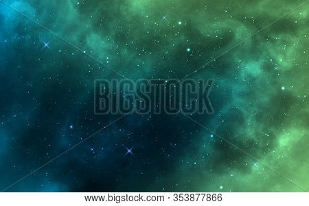 Space Background. Green Realistic Cosmos Backdrop. Starry Nebula With Stardust And Milky Way. Color