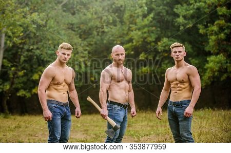 Inspiring Training Harder. Group Muscular Men With Axe. Athletic Man Use Ax. Wild Masculinity. Broth
