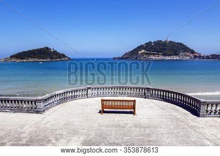 Boardwalk Near La Concha Beach Overlooking Monte Igueldo And Santa Clara Island Of The Bay Of Biscay