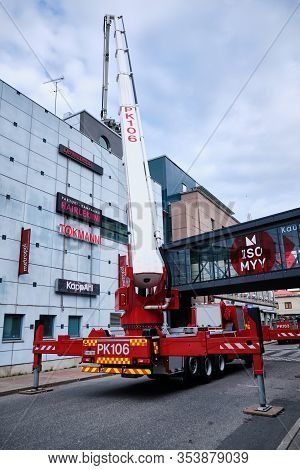 Joensuu, Finland - 8 September 2019: Firetruck With Ladder Extended, Near The Shopping Mall.