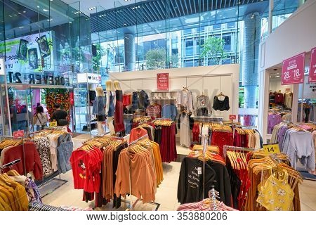 SINGAPORE - CIRCA JANUARY, 2020: interior shot of Forever 21 store. Forever 21 is represented in Singapore with one store, located within 313 Somerset shopping mall.