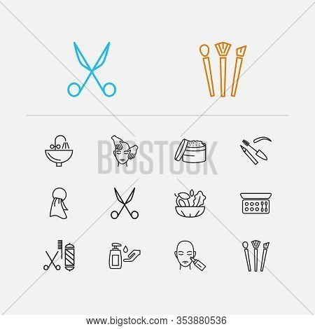 Beautiful Icons Set. Scissors And Beautiful Icons With Face Massage, Brush Set And Barbershop. Set O
