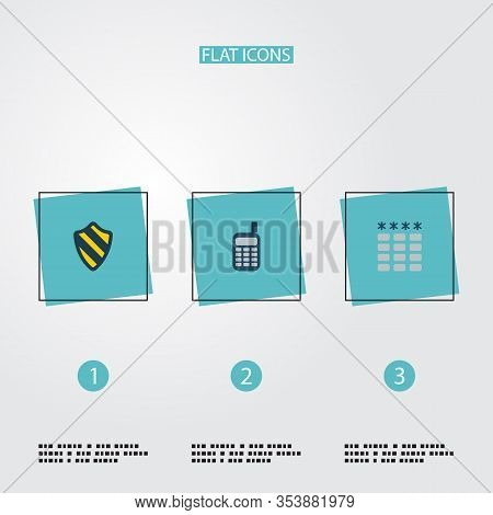 Set Of Security Icons Flat Style Symbols With Phone, Password, Protection And Other Icons For Your W