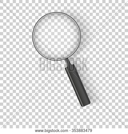 Realistic Magnifying Glass Isolated On Checkered Background Vector Illustration. Magnifying Glass Ob