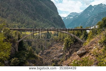 Bridges Over Gorge. Stunning Scenery, Majestic Mountains And Forest.