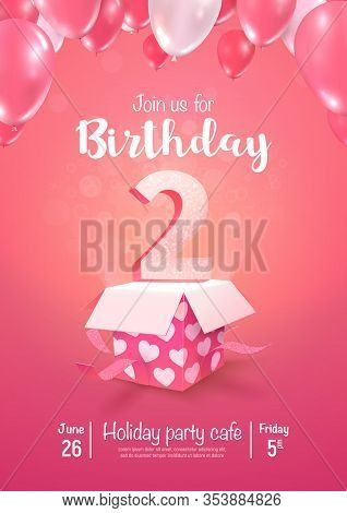 Celebrating Of 2 Years Birthday Vector 3d Illustration On Soft Background. Two Years Anniversary Cel