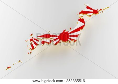 3d Map Of Japan. Map Of Japan Land Border With Flag. Japan Map On White Background. 3d Rendering