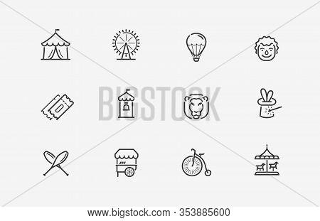 Circus Icons Set. Funfair, Carnival Symbol Vector Illustration