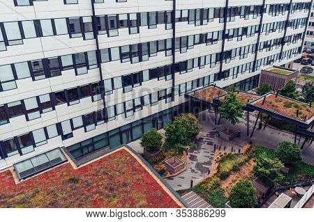 Lyon, France - May 8, 2019. Moderm Buildimodern Office Building, Gardens, Eco Friendly Zone On Rooft