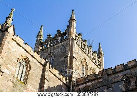 Dunfermline  Scotland  - September 15 2019: Close Up Of The Tower Sculpture Reading The Bruce At The