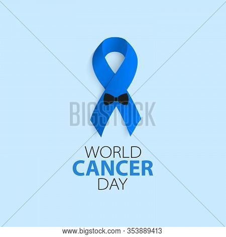 World Cancer Day. Prostate Cancer Ribbon Awareness On Blue Background. Blue Ribbon With A Butterfly.
