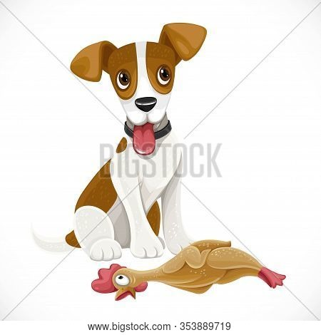 Cute Cartoon Jack Russell Terrier Dog With Rubber Toy Chicken Isolated On White Background
