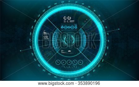 Hud Modern Aiming System With Device Tilt Level. Futuristic Vr Head-up Display Design. View From The