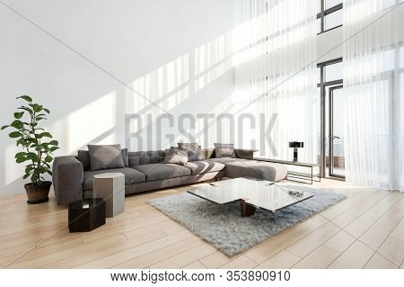 Spacious bright double volume modern living room with lacy curtains on view windows and a large comfortable sofa with coffee table on a wooden floor. 3d Rendering