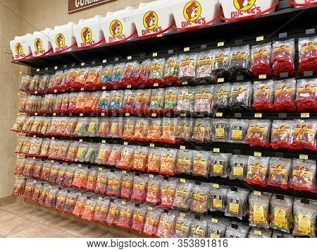 Houston, Tx/usa-2/25/20:  Bags Of Candy And Snacks At A Buc Ees.  The Buc Ees Gas Station, Fast Food