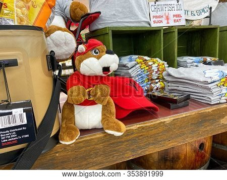 Houston, Tx/usa-2/25/20:  A Stuffed Bucees Beaver Mascot At A Buc Ees.  The Buc Ees Gas Station, Fas