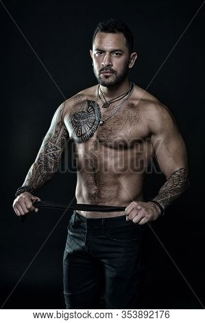 He Got Perfect Torso. Muscular Man Hold Leather Belt. Fetish. Bdsm Love Game. Sportsman Bare Chest A