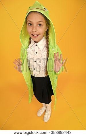 Schoolgirl Hooded Raincoat Going To School. Waterproof Fabric For Your Comfort. Rainproof Accessory.