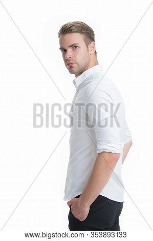 Tidy Boy. Working Formal Dress Code. Menswear Formal Style. Man Well Groomed Formal Shirt White Back