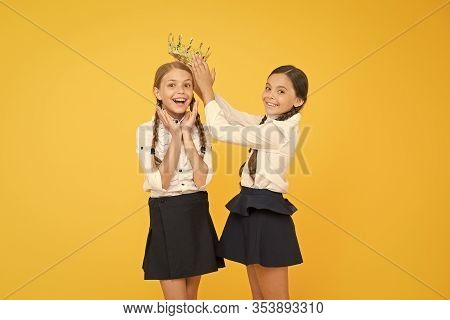 Champion Crowned. School Competitions Concept. Royal Friendship. Crown Suits Her. Adorable Small Chi