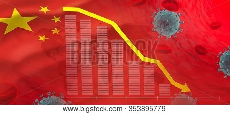 Novel Coronavirus 2019-ncov Impact Global Economy. Graph In Decline Of The Economy In China. Corona