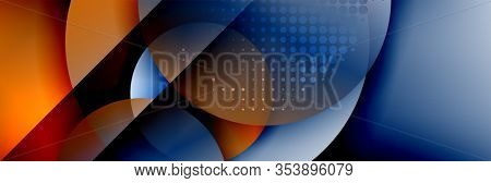 Dynamic trendy geometrical abstract background. Circles, round shapes 3d shadow effects and fluid gradients. Modern overlapping round forms. Illustration For Wallpaper, Banner, Background, Card, Book