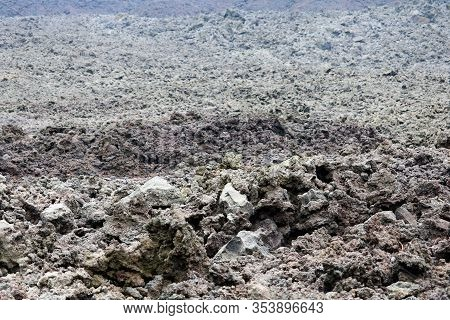Fresh Lava Field With A Field Of Lava Rocks Taken On A Volcanic Plateau In The Pacaya Volcanic Crate