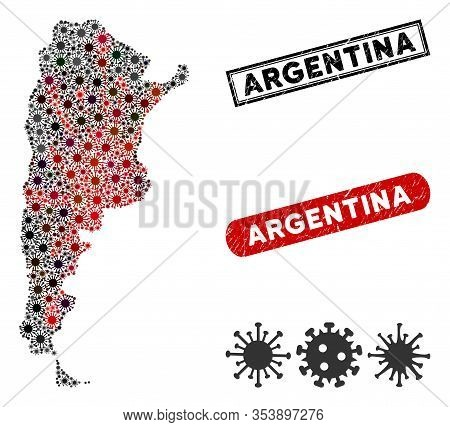 Coronavirus Mosaic Argentina Map And Rubber Stamp Watermarks. Argentina Map Collage Created With Ran