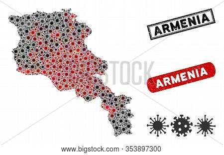 Coronavirus Collage Armenia Map And Grunge Stamp Watermarks. Armenia Map Collage Constructed With Ra