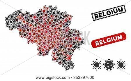 Coronavirus Collage Belgium Map And Distressed Stamp Seals. Belgium Map Collage Formed With Randomiz