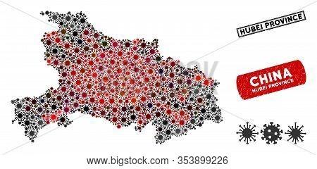 Coronavirus Collage Hubei Province Map And Corroded Stamp Watermarks. Hubei Province Map Collage Con