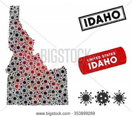 Coronavirus Collage Idaho State Map And Rubber Stamp Seals. Idaho State Map Collage Designed With Ra