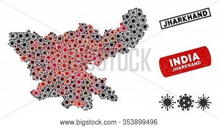 Coronavirus Mosaic Jharkhand State Map And Corroded Stamp Seals. Jharkhand State Map Collage Created