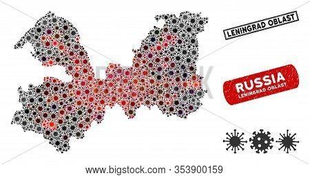 Coronavirus Collage Leningrad Oblast Map And Grunge Stamp Watermarks. Leningrad Oblast Map Collage C