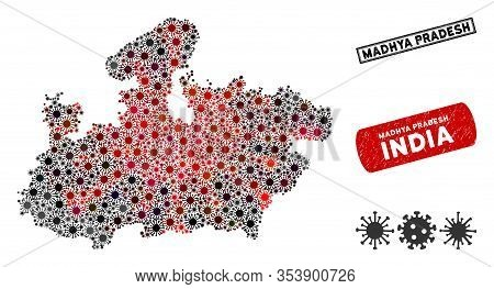 Coronavirus Collage Madhya Pradesh State Map And Grunge Stamp Seals. Madhya Pradesh State Map Collag