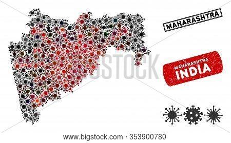 Coronavirus Collage Maharashtra State Map And Distressed Stamp Seals. Maharashtra State Map Collage