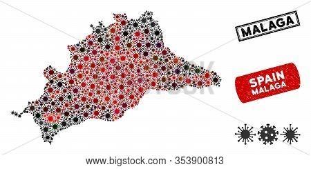 Coronavirus Collage Malaga Province Map And Rubber Stamp Watermarks. Malaga Province Map Collage Des