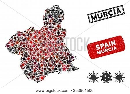 Coronavirus Collage Murcia Province Map And Grunge Stamp Watermarks. Murcia Province Map Collage Des